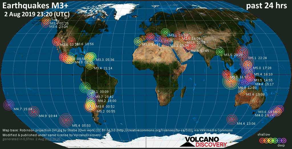 World map showing earthquakes above magnitude 3 during the past 24 hours on  2 Aug 2019
