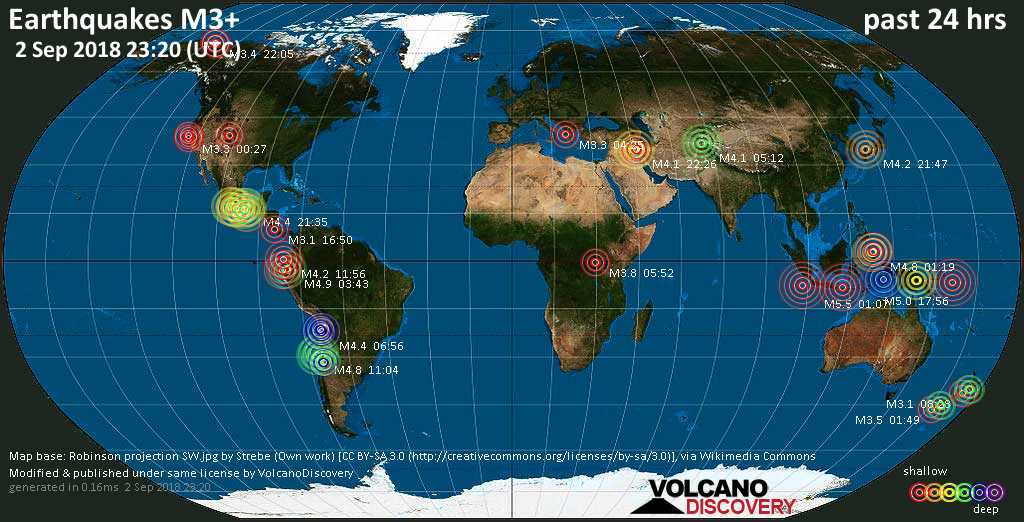 World map showing earthquakes above magnitude 3 during the past 24 hours on  2 Sep 2018