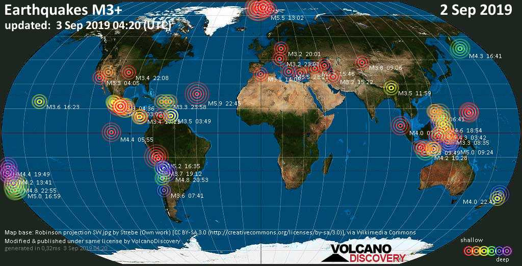 World map showing earthquakes above magnitude 3 during the past 24 hours on  3 Sep 2019