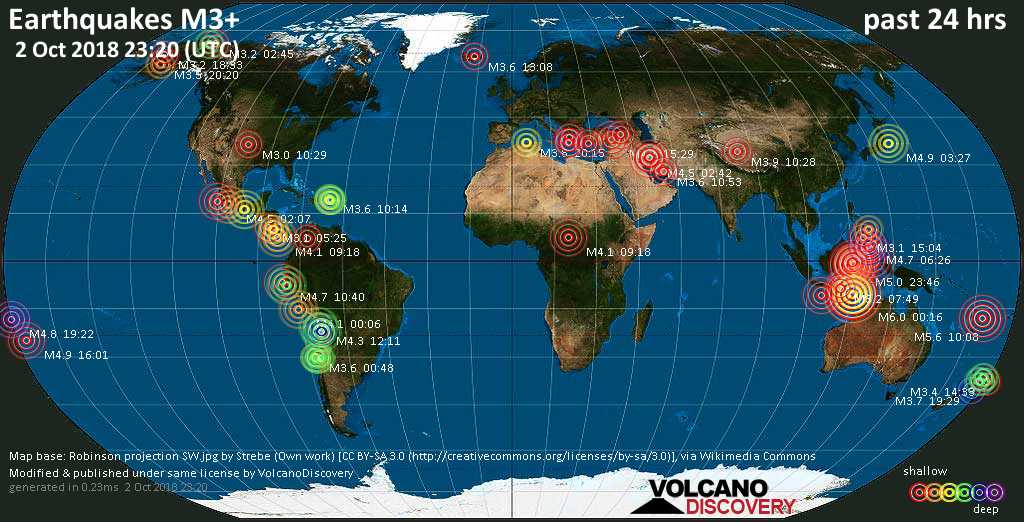 World map showing earthquakes above magnitude 3 during the past 24 hours on  2 Oct 2018