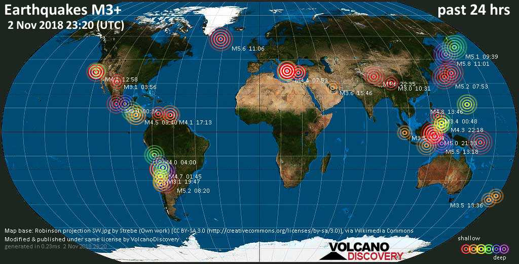 World map showing earthquakes above magnitude 3 during the past 24 hours on  2 Nov 2018