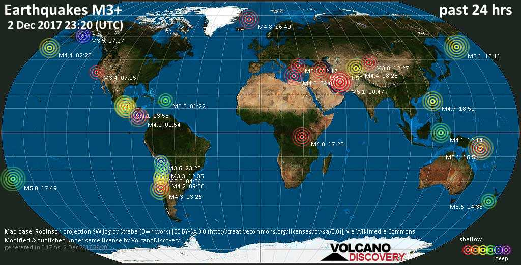 World map showing earthquakes above magnitude 3 during the past 24 hours on  2 Dec 2017