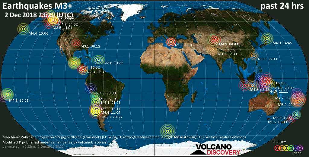 World map showing earthquakes above magnitude 3 during the past 24 hours on  2 Dec 2018