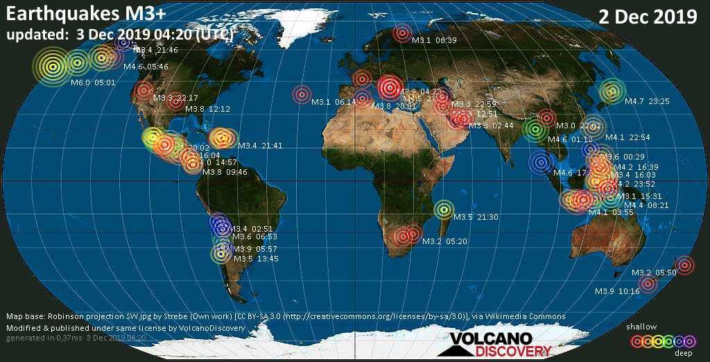Mapa mundial que muestra terremotos de magnitud 3 en las últimas 24 horas  3 diciembre 2019