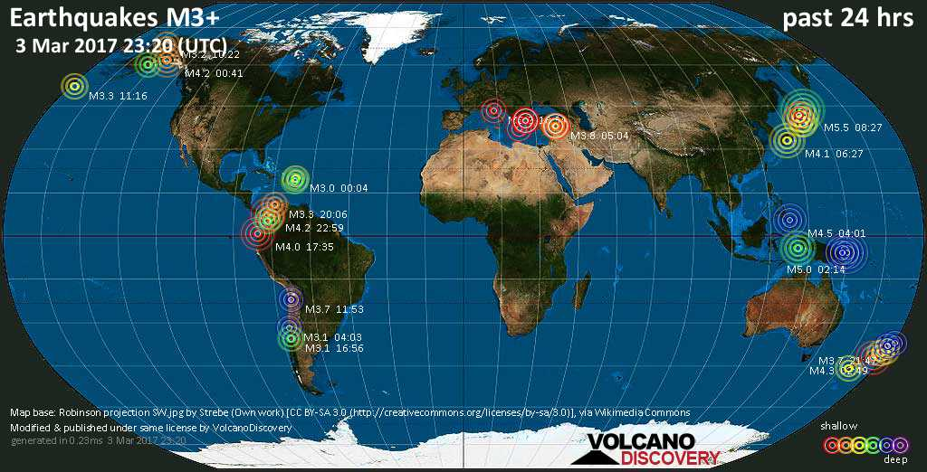 World map showing earthquakes above magnitude 3 during the past 24 hours on  3 Mar 2017