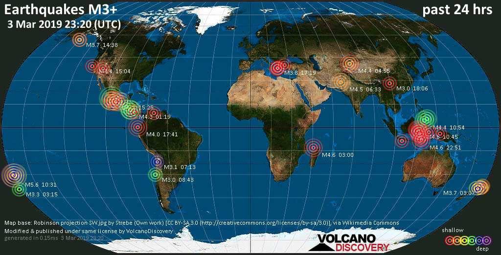 World map showing earthquakes above magnitude 3 during the past 24 hours on  3 Mar 2019