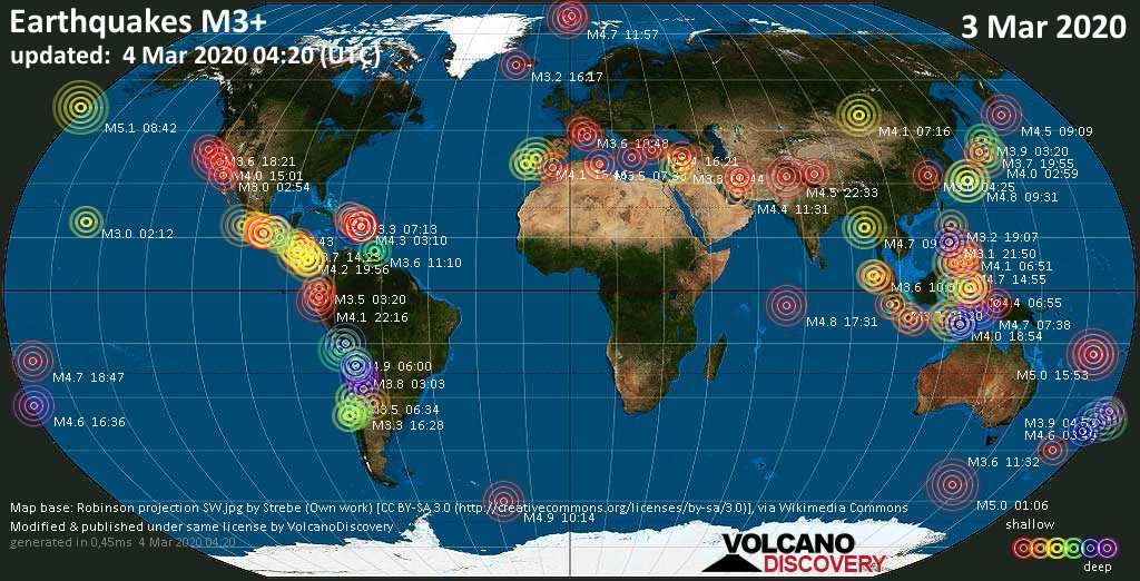 World map showing earthquakes above magnitude 3 during the past 24 hours on  4 Mar 2020