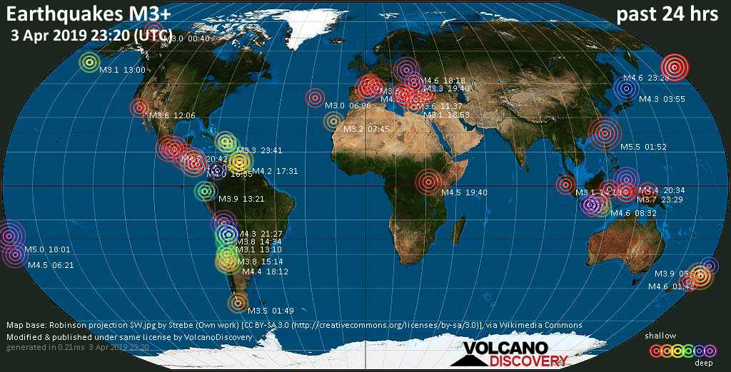World map showing earthquakes above magnitude 3 during the past 24 hours on  3 Apr 2019