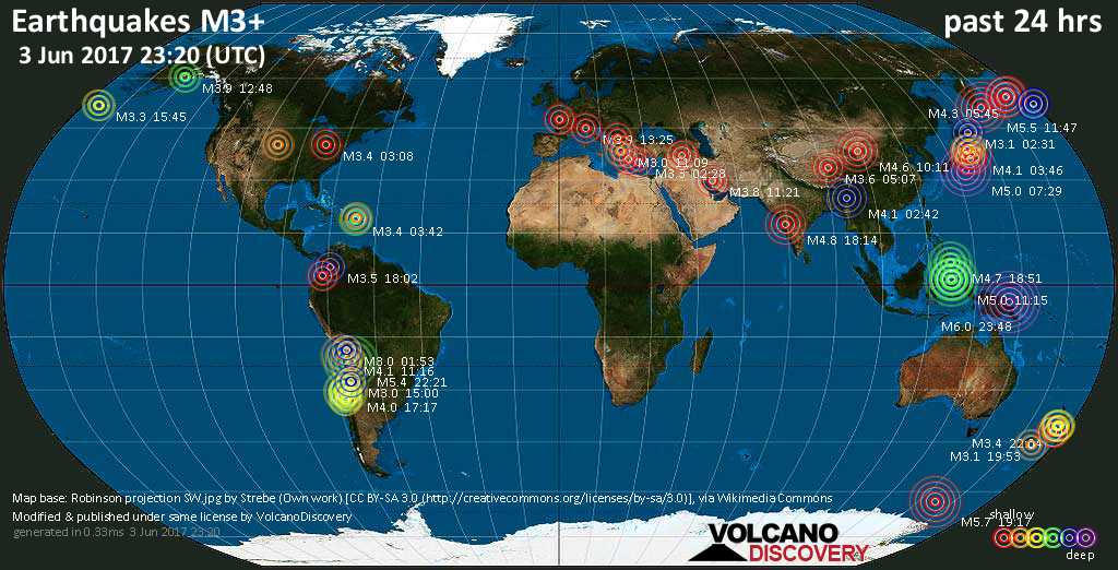 World map showing earthquakes above magnitude 3 during the past 24 hours on  3 Jun 2017