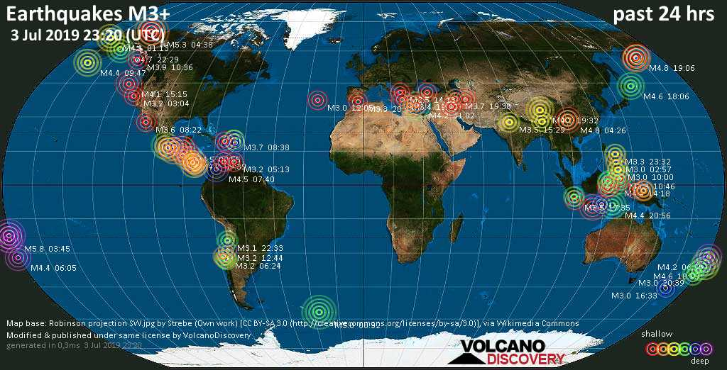 World map showing earthquakes above magnitude 3 during the past 24 hours on  3 Jul 2019