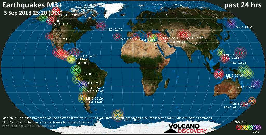 World map showing earthquakes above magnitude 3 during the past 24 hours on  3 Sep 2018