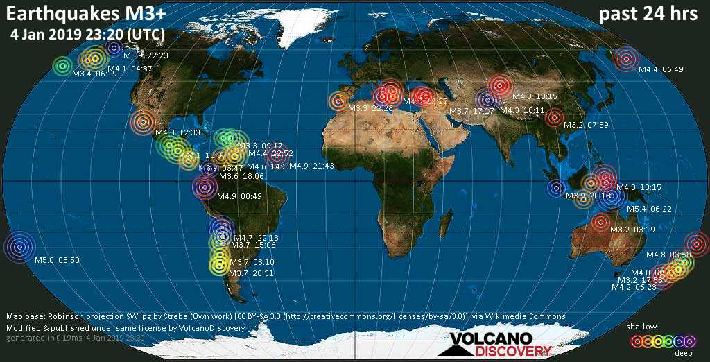 World map showing earthquakes above magnitude 3 during the past 24 hours on  4 Jan 2019