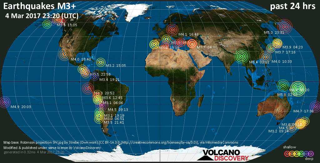 World map showing earthquakes above magnitude 3 during the past 24 hours on  4 Mar 2017