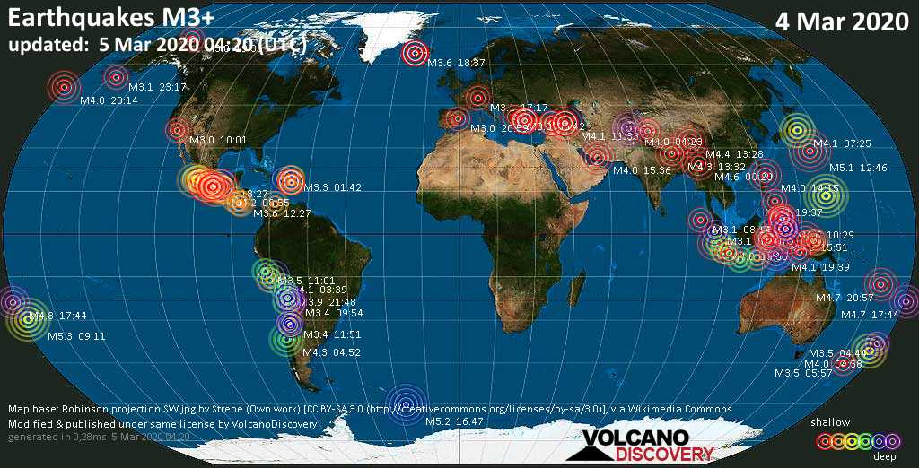 World map showing earthquakes above magnitude 3 during the past 24 hours on  5 Mar 2020