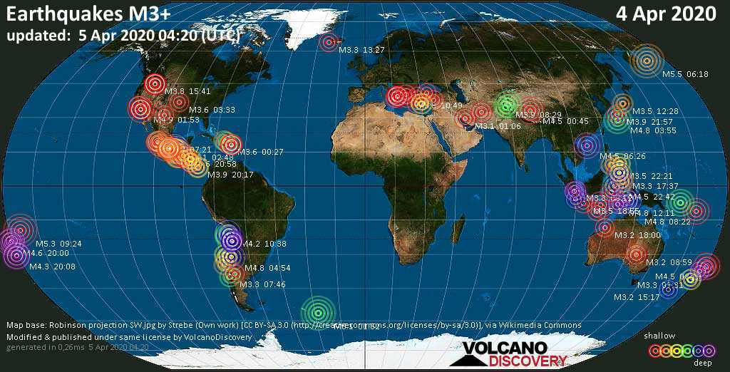 World map showing earthquakes above magnitude 3 during the past 24 hours on  5 Apr 2020