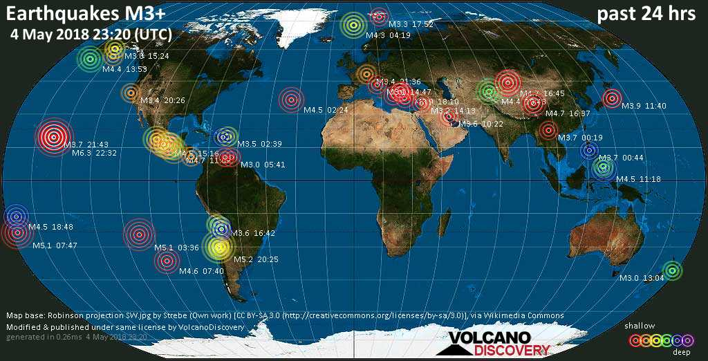 World map showing earthquakes above magnitude 3 during the past 24 hours on  4 May 2018