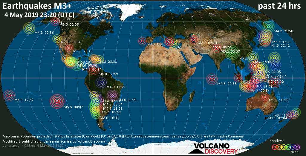 World map showing earthquakes above magnitude 3 during the past 24 hours on  4 May 2019