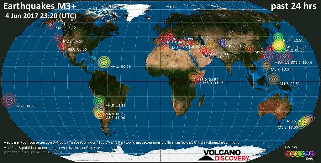 World map showing earthquakes above magnitude 3 during the past 24 hours on  4 Jun 2017