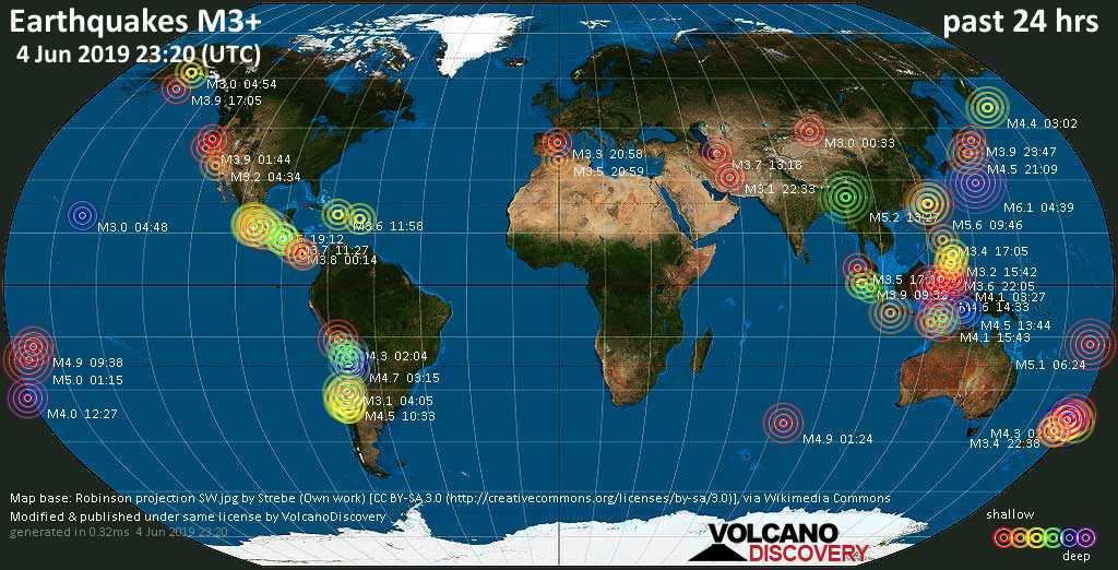 World map showing earthquakes above magnitude 3 during the past 24 hours on  4 Jun 2019