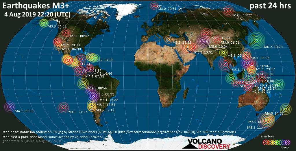 World map showing earthquakes above magnitude 3 during the past 24 hours on  4 Aug 2019