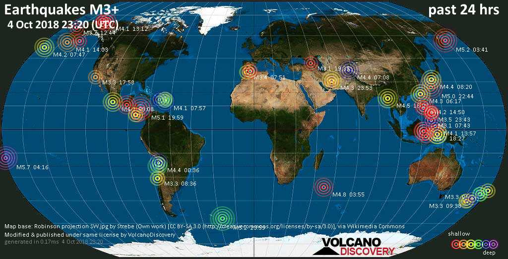 World map showing earthquakes above magnitude 3 during the past 24 hours on  4 Oct 2018