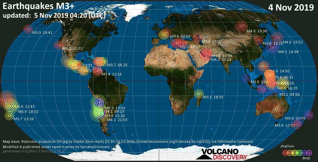 World map showing earthquakes above magnitude 3 during the past 24 hours on  5 Nov 2019