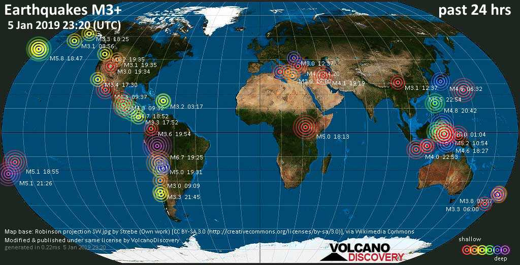 World map showing earthquakes above magnitude 3 during the past 24 hours on  5 Jan 2019