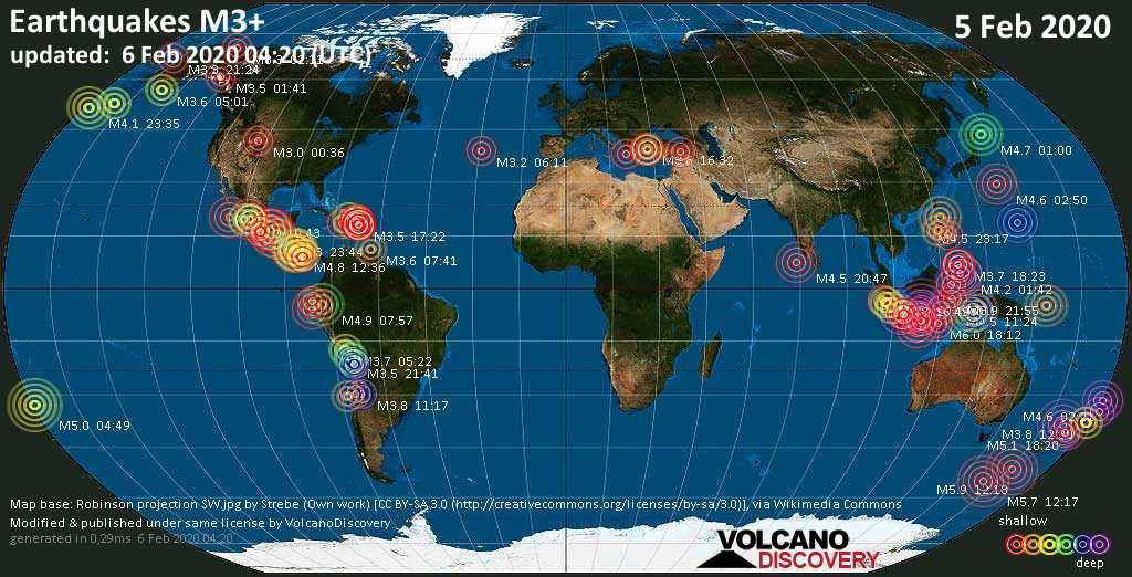 World map showing earthquakes above magnitude 3 during the past 24 hours on  6 Feb 2020