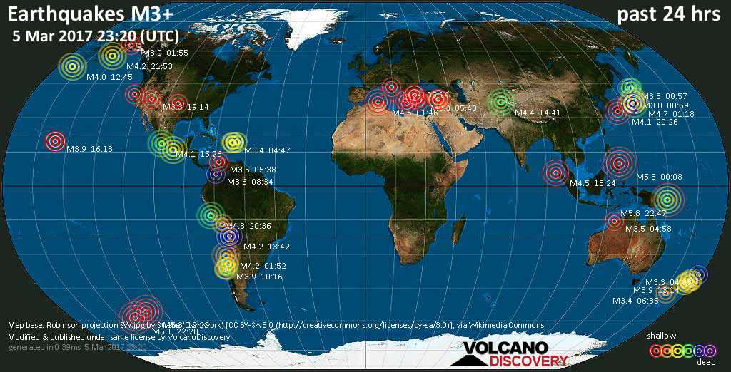World map showing earthquakes above magnitude 3 during the past 24 hours on  5 Mar 2017