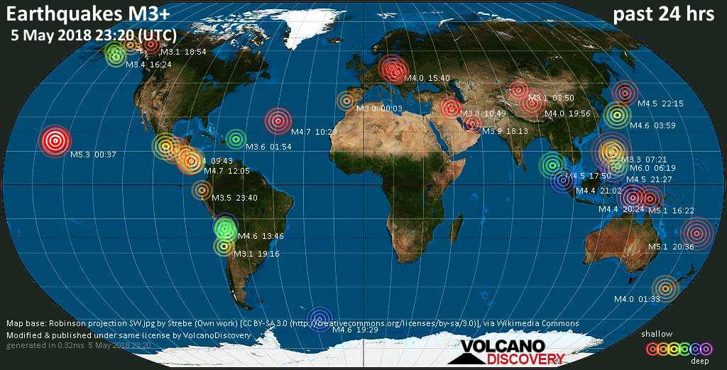World map showing earthquakes above magnitude 3 during the past 24 hours on  5 May 2018