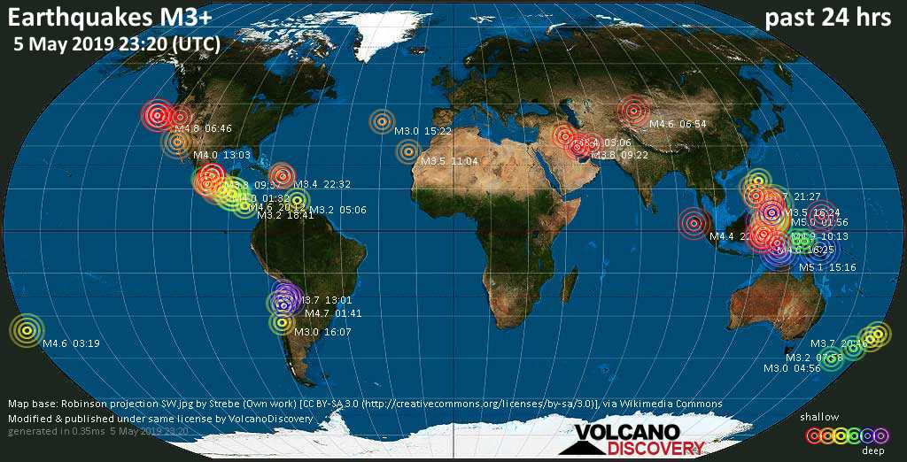 World map showing earthquakes above magnitude 3 during the past 24 hours on  5 May 2019