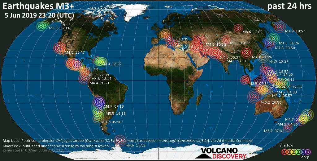 World map showing earthquakes above magnitude 3 during the past 24 hours on  5 Jun 2019