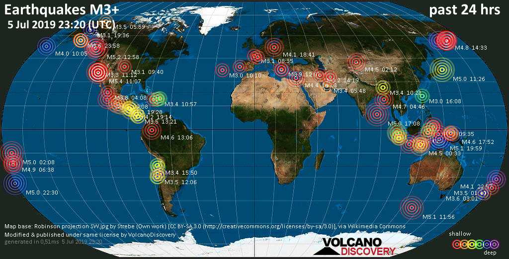 World map showing earthquakes above magnitude 3 during the past 24 hours on  5 Jul 2019