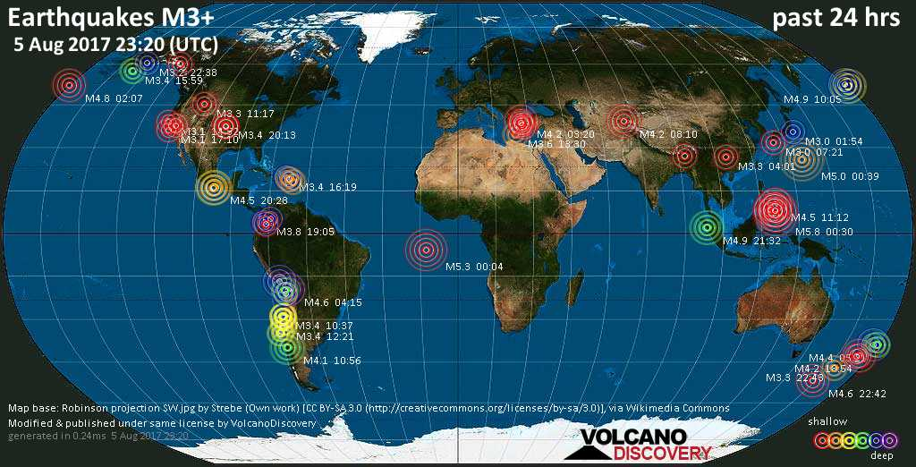 World map showing earthquakes above magnitude 3 during the past 24 hours on  5 Aug 2017