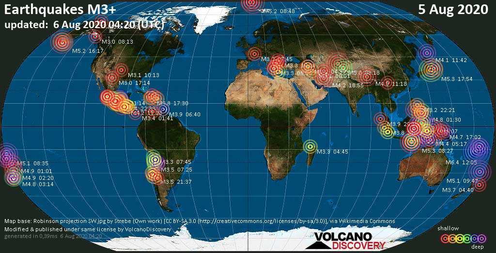 Worldwide earthquakes above magnitude 3 during the past 24 hours on  5 Aug 2020