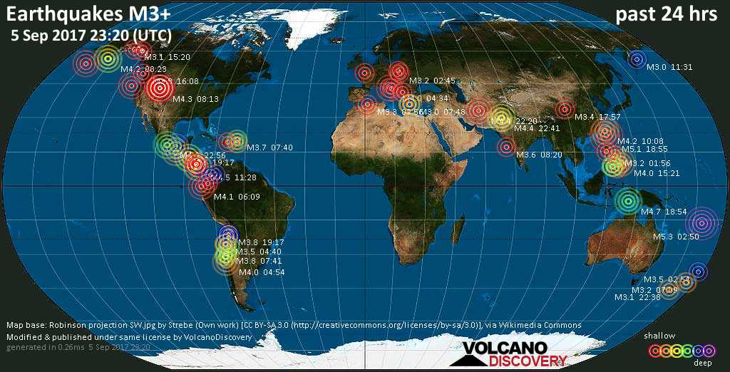 World map showing earthquakes above magnitude 3 during the past 24 hours on  5 Sep 2017