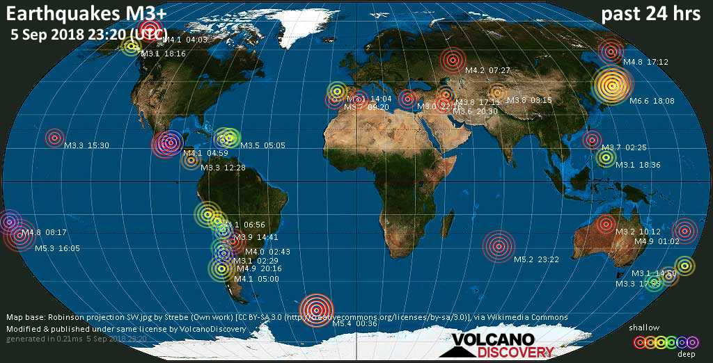 World map showing earthquakes above magnitude 3 during the past 24 hours on  5 Sep 2018