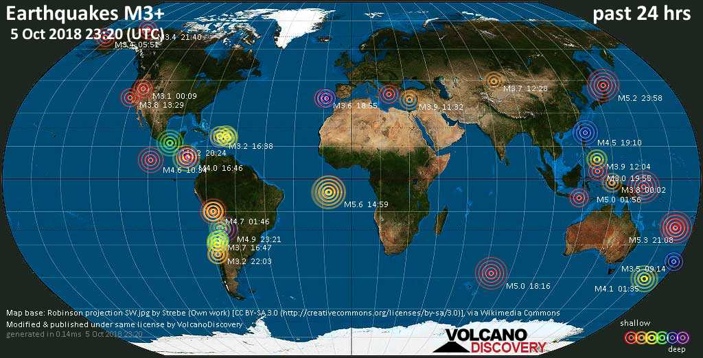 World map showing earthquakes above magnitude 3 during the past 24 hours on  5 Oct 2018