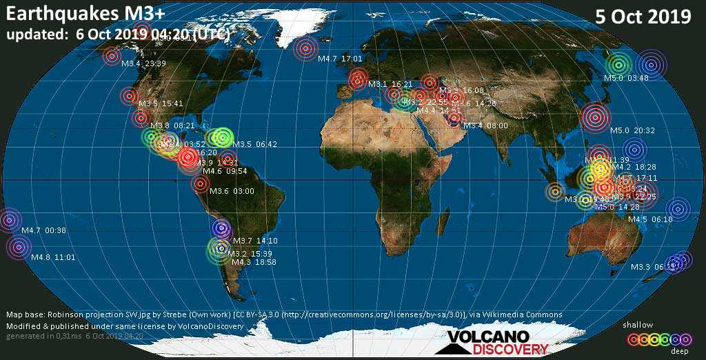 World map showing earthquakes above magnitude 3 during the past 24 hours on  6 Oct 2019
