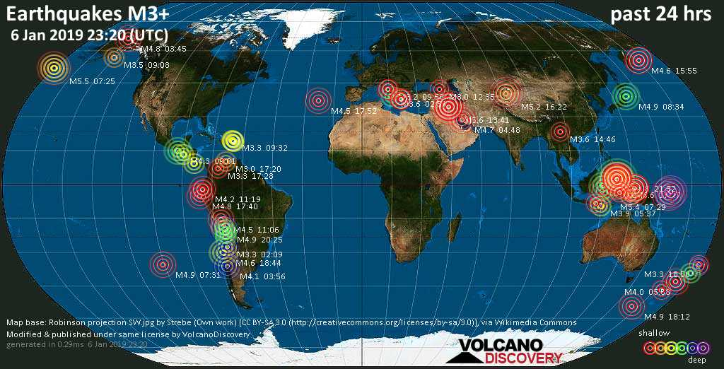 World map showing earthquakes above magnitude 3 during the past 24 hours on  6 Jan 2019