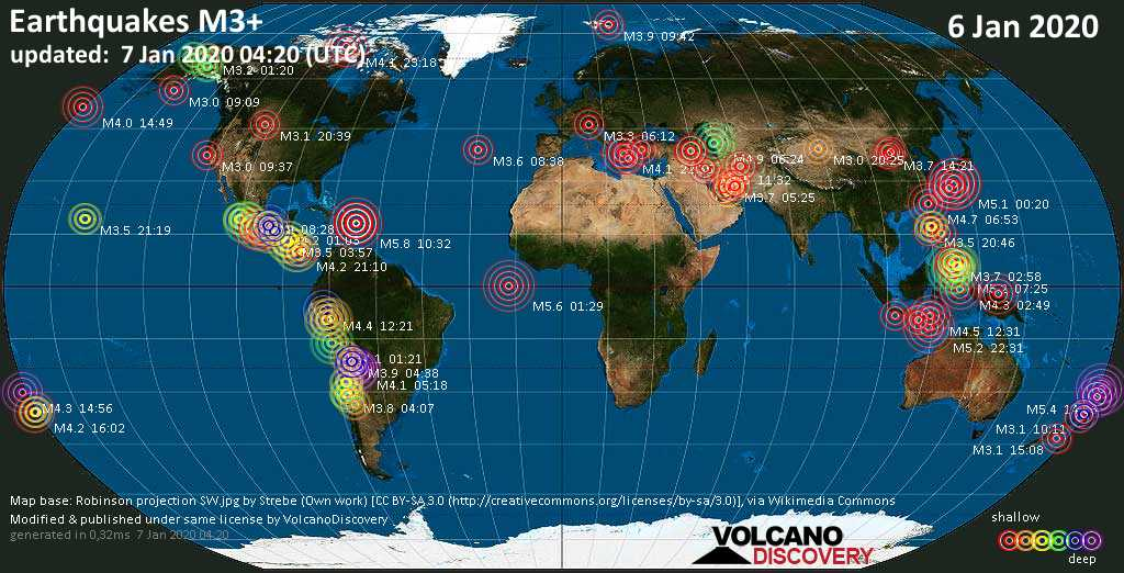 World map showing earthquakes above magnitude 3 during the past 24 hours on  7 Jan 2020