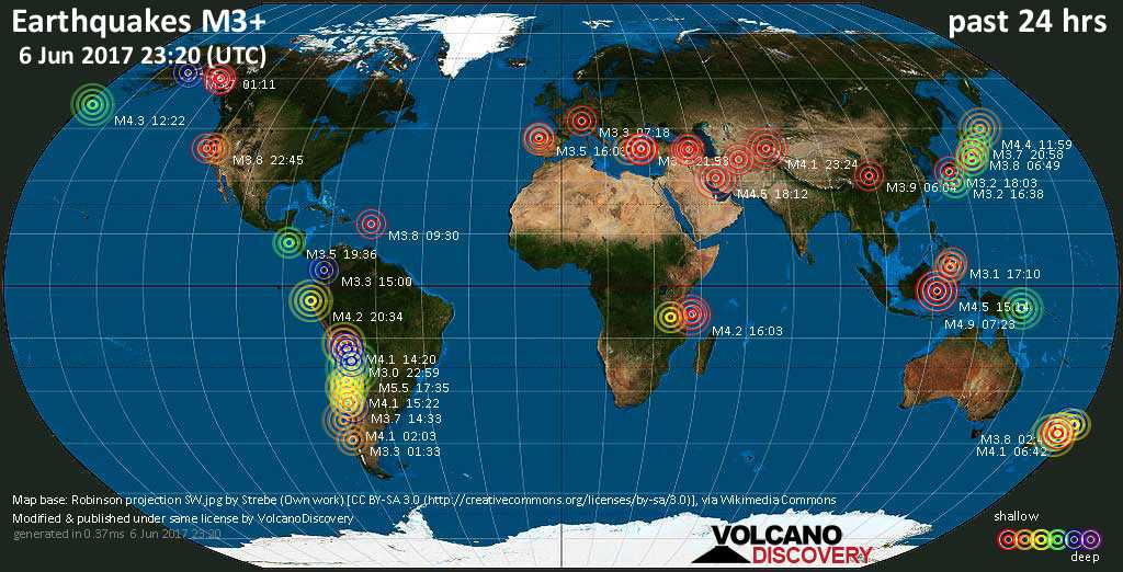 World map showing earthquakes above magnitude 3 during the past 24 hours on  6 Jun 2017