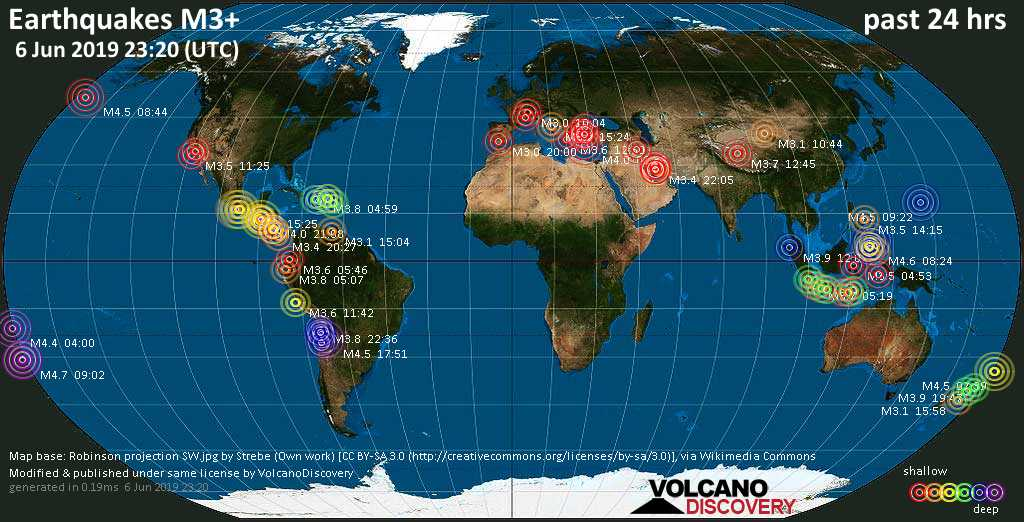 World map showing earthquakes above magnitude 3 during the past 24 hours on  6 Jun 2019