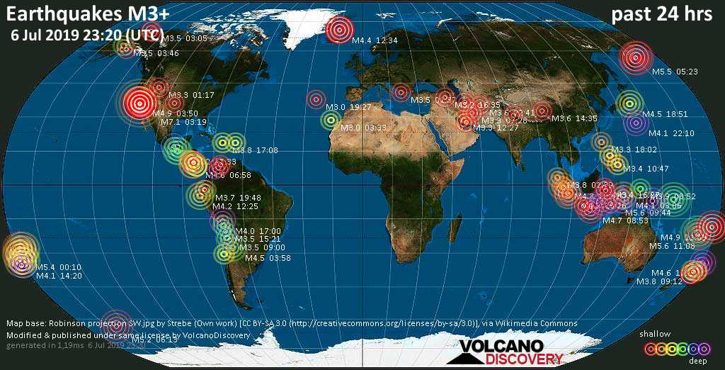 World map showing earthquakes above magnitude 3 during the past 24 hours on  6 Jul 2019