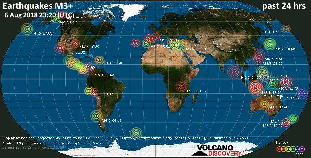 World map showing earthquakes above magnitude 3 during the past 24 hours on  6 Aug 2018