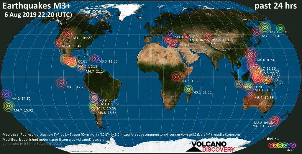 World map showing earthquakes above magnitude 3 during the past 24 hours on  6 Aug 2019