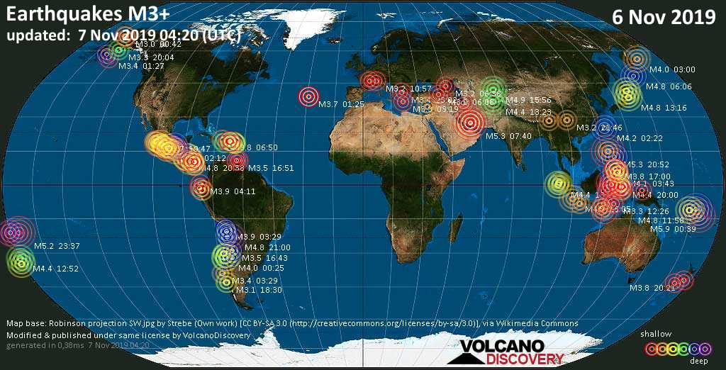 World map showing earthquakes above magnitude 3 during the past 24 hours on  7 Nov 2019