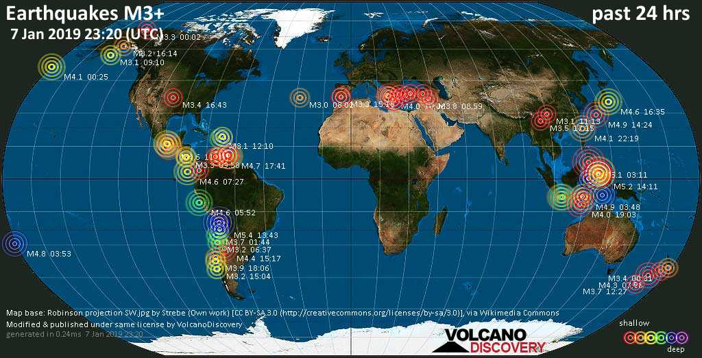 World map showing earthquakes above magnitude 3 during the past 24 hours on  7 Jan 2019