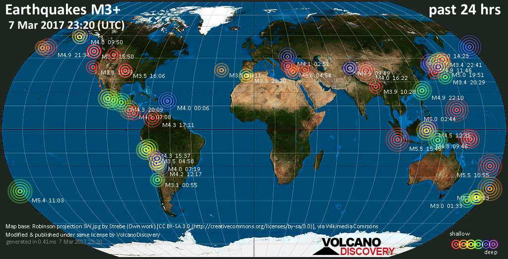 World map showing earthquakes above magnitude 3 during the past 24 hours on  7 Mar 2017