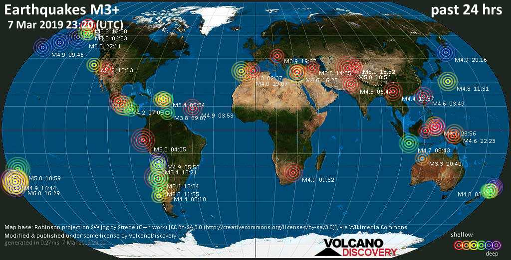 World map showing earthquakes above magnitude 3 during the past 24 hours on  7 Mar 2019